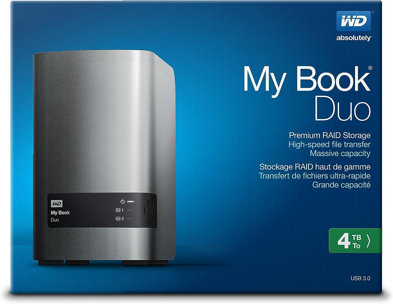WD 4TB My Book Duo Desktop RAID External HD USB 3.0 WDBLWE0040JCH WDBFBE0040JBK