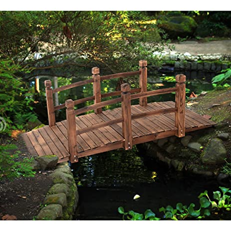 5u0027 Wooden Bridge Stained Finish Decorative Solid Wood Garden Pond Arch  Walkway