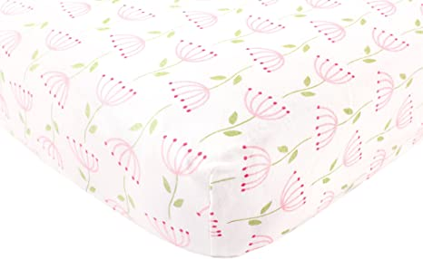 Pink Feather Touched by Nature Organic Cotton Fitted Crib Sheet