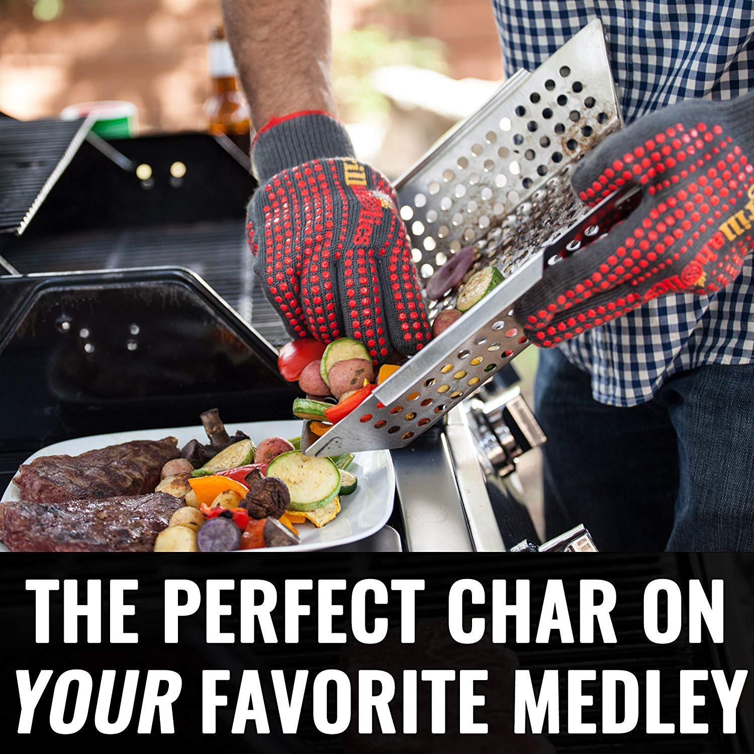 Grillaholics Grill Basket - Large Grilling Basket for More Vegetables - Heavy Duty Stainless Steel Grilling Accessories Built to Last - Perfect Vegetable Grill Basket for All Grills and Veggies by Grillaholics (Image #7)