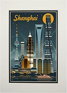 product image for Shanghai, China - Retro Skyline (11x14 Double-Matted Art Print, Wall Decor Ready to Frame)