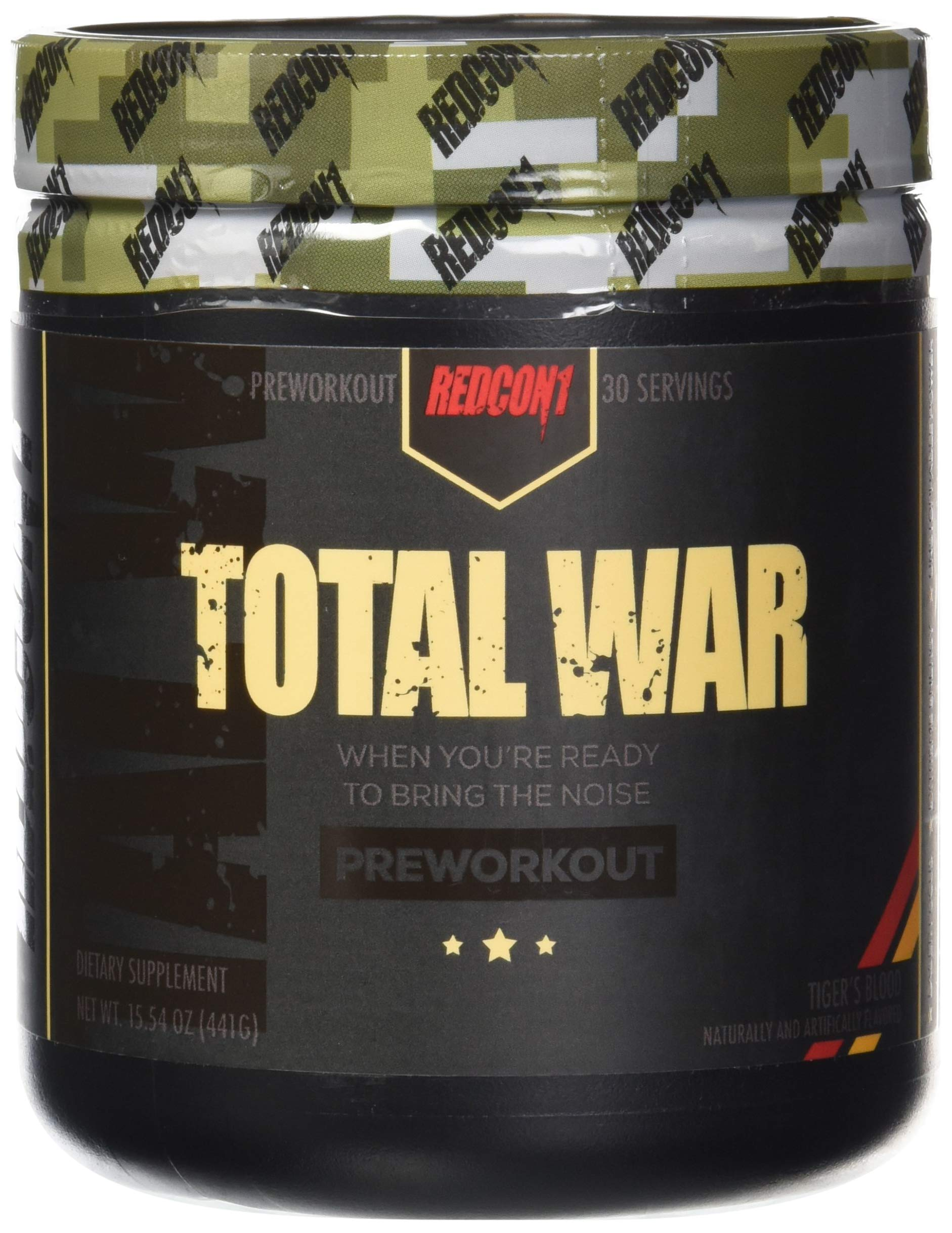 Redcon1 Total War - Pre Workout, Tigers Blood (30) Servings, Boost Energy, Increase Endurance and Focus, Beta-Alanine, Caffeine