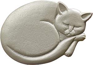 "ART & ARTIFACT Cat Stepping Stone, Cast Iron Sleeping Cat, Grey Finish, 11"" x 8"""