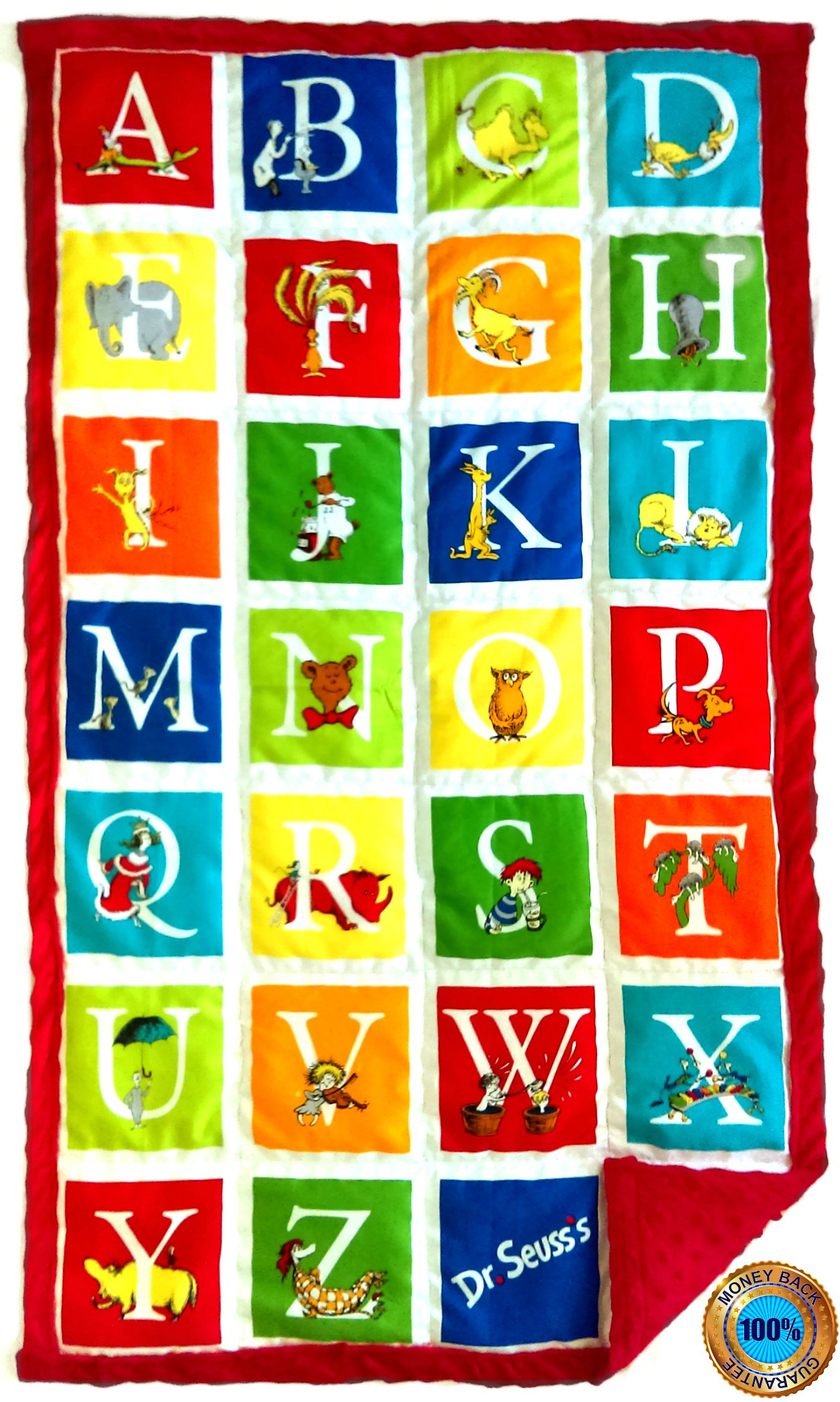 Weighted Sensory Blankets by ReachTherapy Solutions - Choose from 8 Different Designs & 5 to 15 lbs (25'' x 45'' - 8 lbs, Alphabet Seuss)