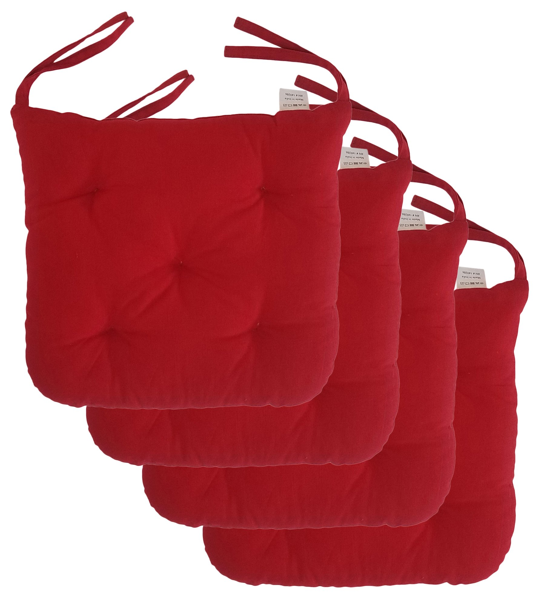 Cottone 100% Cotton Chair Pads w/Ties (Set of 4)| 16'' x 15'' Square Round | Extra-Comfortable & Soft Seat Cushions | Ergonomic Pillows for Rocking, Dining, Patio, Camping, Kitchen Chairs & More, Red