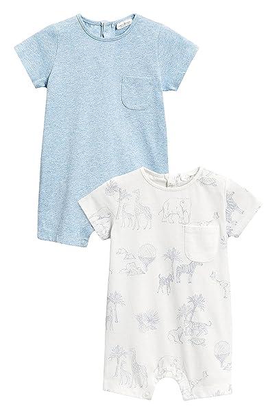 next Bebé-Niños Pack De Dos Peleles De Estilo Corto con Estampado (0 Meses - 2 Años) Azul 1.5-2 años: Amazon.es: Ropa y accesorios