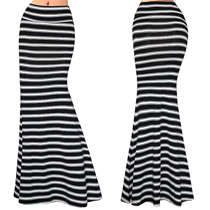 a01c2188d Felice Women Fashion Houndstooth Print Striped Fold Over Waist Long Maxi  Skirt at Amazon Women's Clothing store: