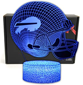 TriPro Football Team 3D Optical Illusion Smart 7 Colors LED Night Light Table Lamp with USB Power Cable and Smart Button, for NFL Fans Gift (Bills)