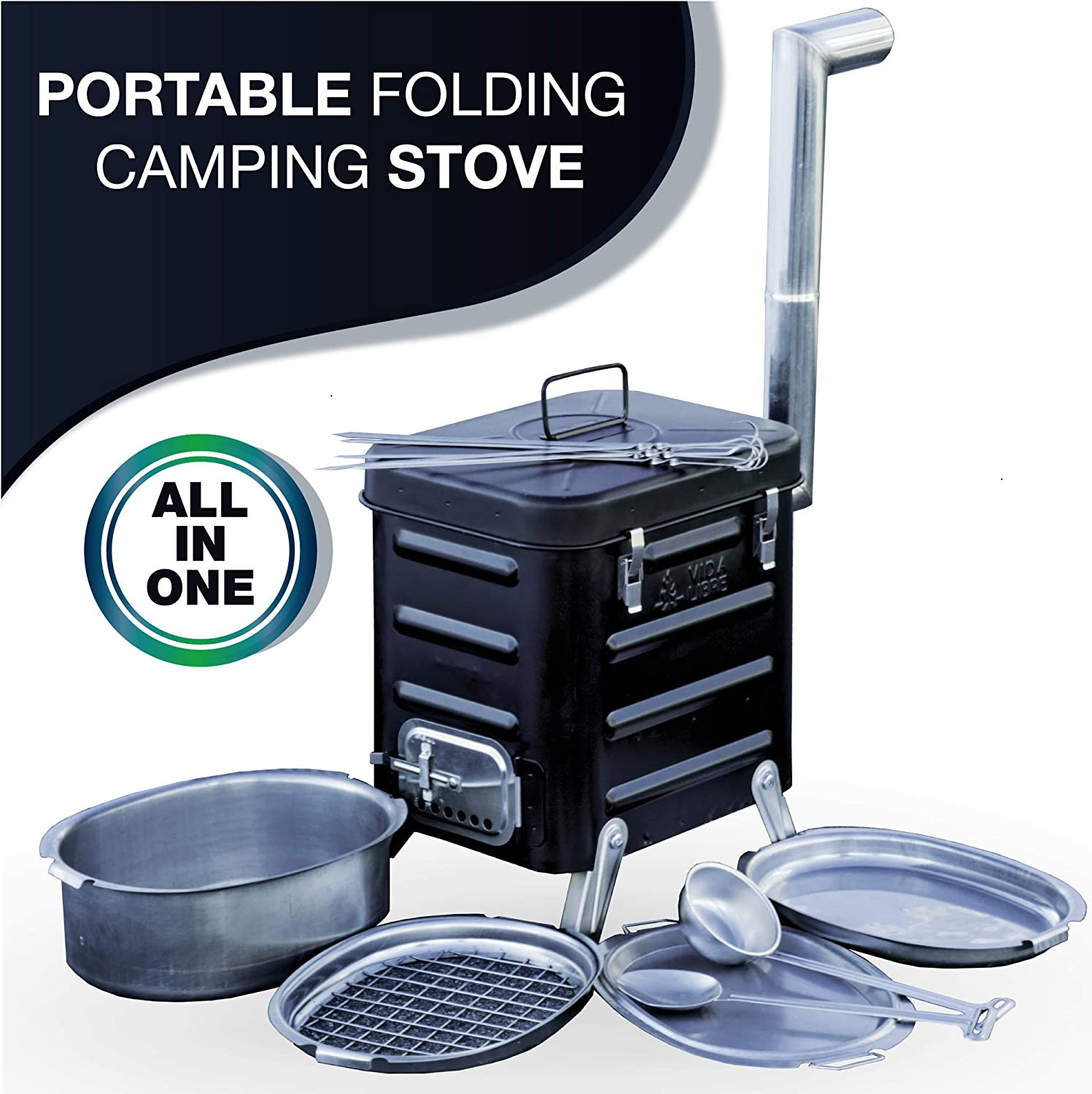 Camping Stove Portable Outdoor Charcoal Biomass and Wood Burning Folding Camp Stove for Camping, Hiking, Fishing, Hunting, RV, Emergency Preparedness – Portable Camping Grill – BBQ Rocket Stove