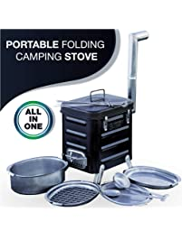 Camping Stove – Portable Outdoor Charcoal Biomass and Wood Burning Folding Camp Stove for Camping, Hiking, Fishing...
