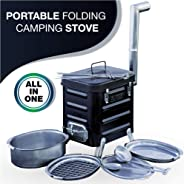 VidaLibre Camping Stove – Portable Outdoor Wood Burning Folding Camp Stove for Camping, Hiking, Fishing, Hunting, RV, Emergen