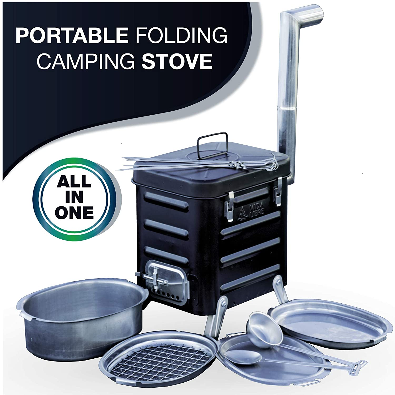 Camping Stove – Portable Outdoor Charcoal Biomass and Wood Burning Folding Camp Stove for Camping, Hiking, Fishing, Hunting, RV, Emergency Preparedness - Portable Camping Grill - BBQ Rocket Stove