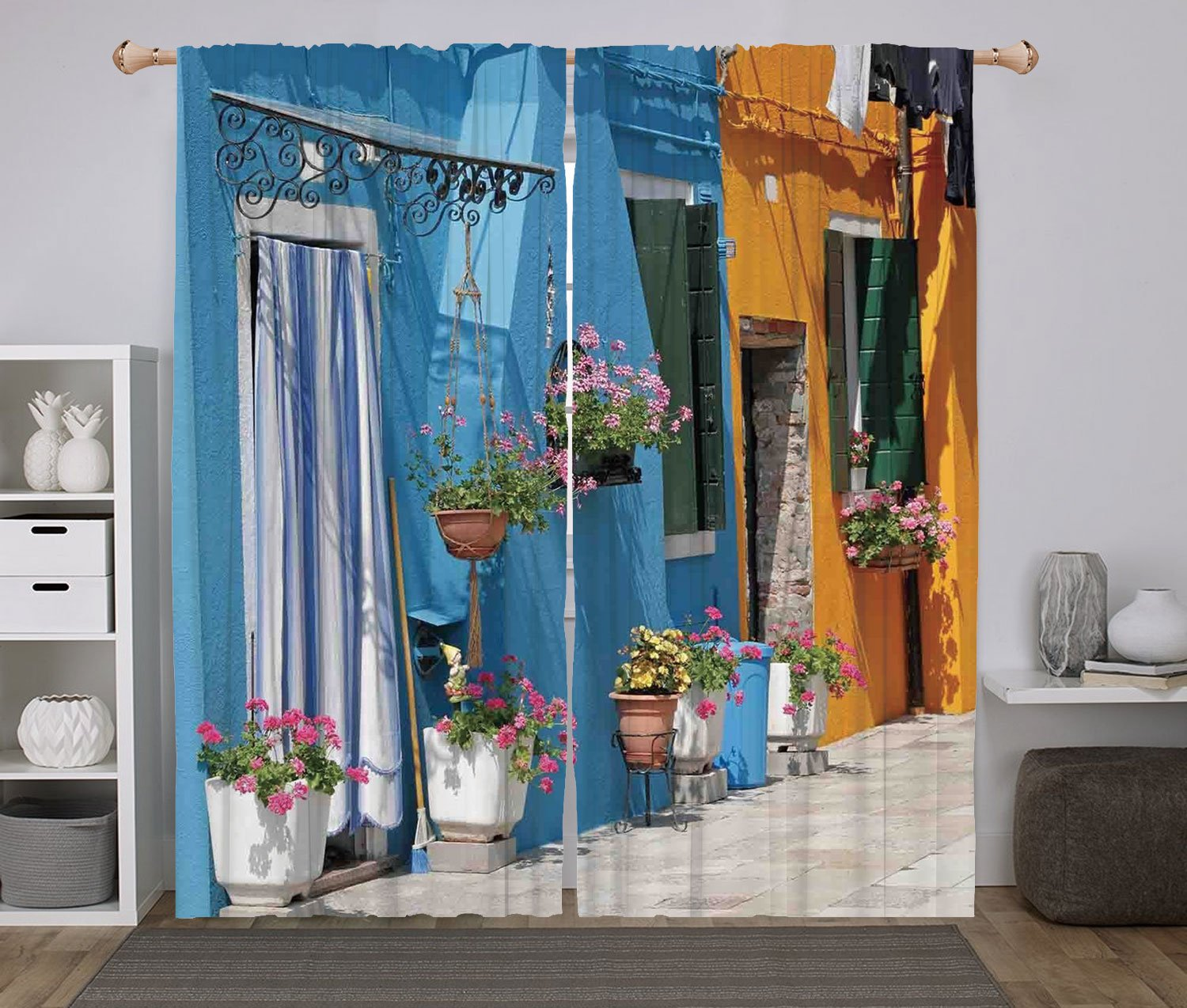 2 Panel Set Window Drapes Kitchen Curtains,Nursery Floral Background with Funny and Cute Animals Giraffe Lion Monkeys and Butterflies Decorative Multicolor,for Bedroom Living Room Dorm Kitchen Cafe HongKong Fudan Investment Co. Limited DLCGCL_18045_K140XG9