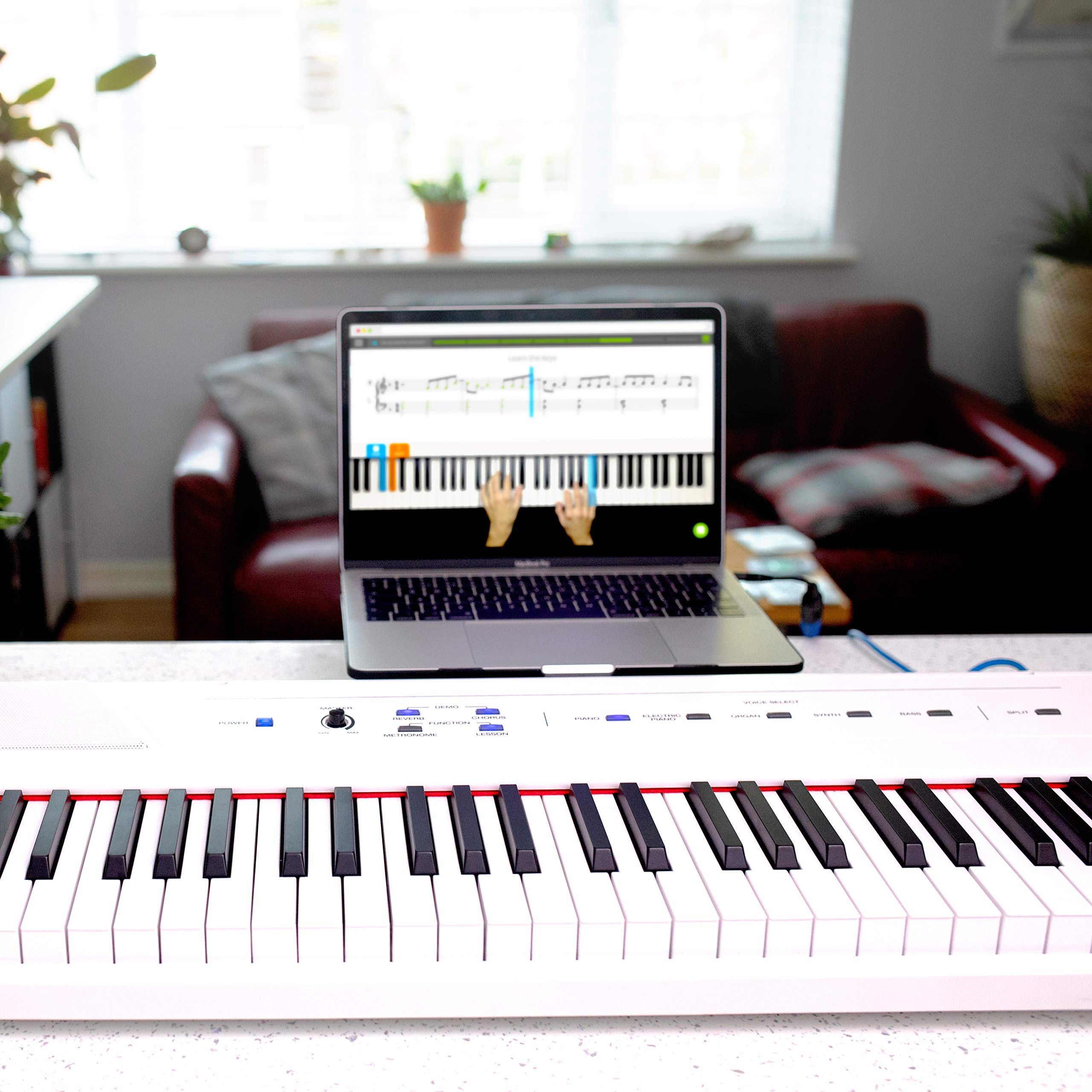 Alesis Recital White | 88-Key Digital Piano / Electronic Keyboard with Full-Size Semi-Weighted Keys, Power Supply, Built-In Speakers and 5 Premium Voices by Alesis (Image #16)