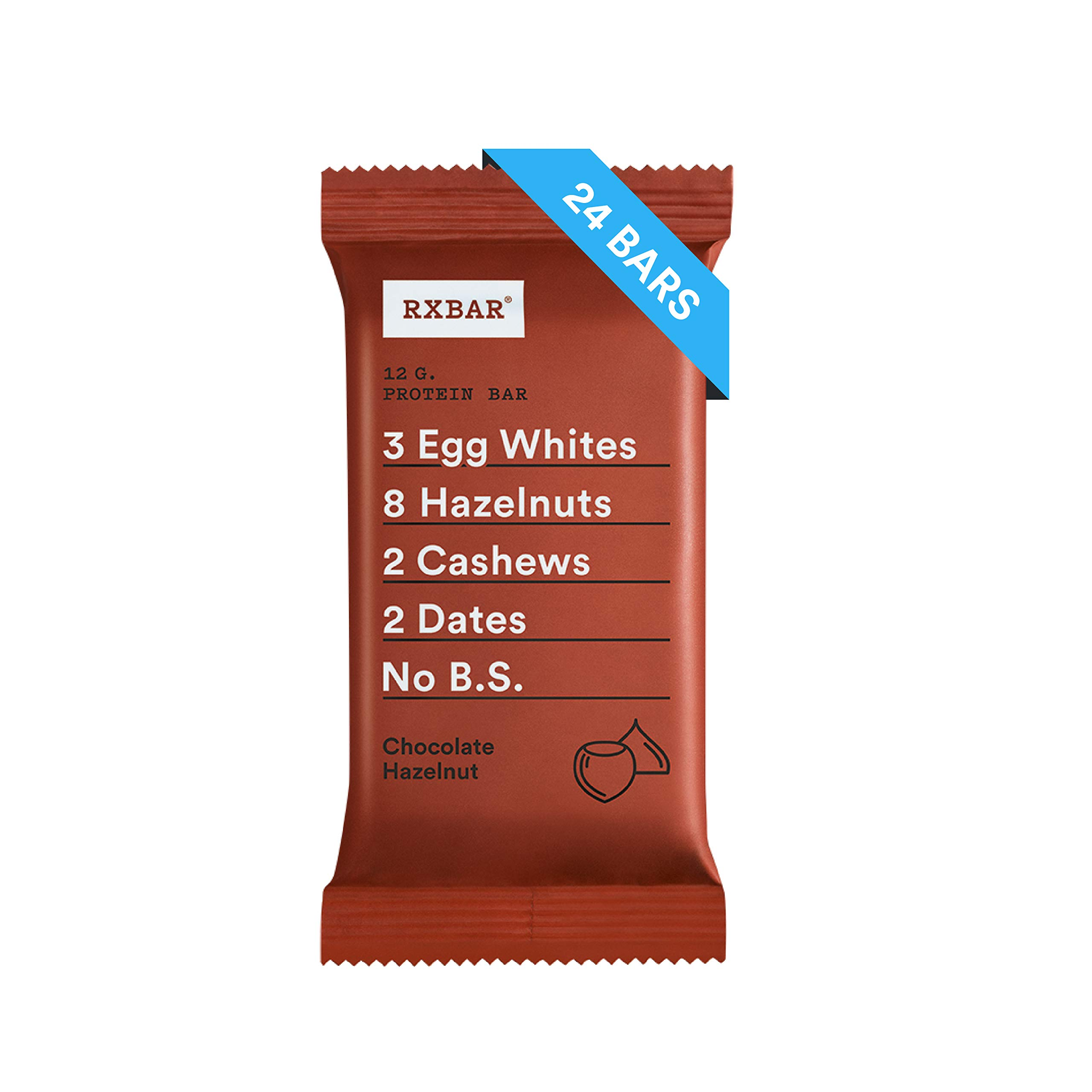 RXBAR Real Food Protein Bar, Chococolate Hazelnut, Gluten Free, 1.83oz Bars, 24 Count
