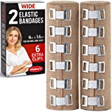 Premium Elastic Bandage Wrap - 2 Pack + 6 Extra Clips - Wide (6 inch) Compression Bandage - Stretches up to 15ft in…