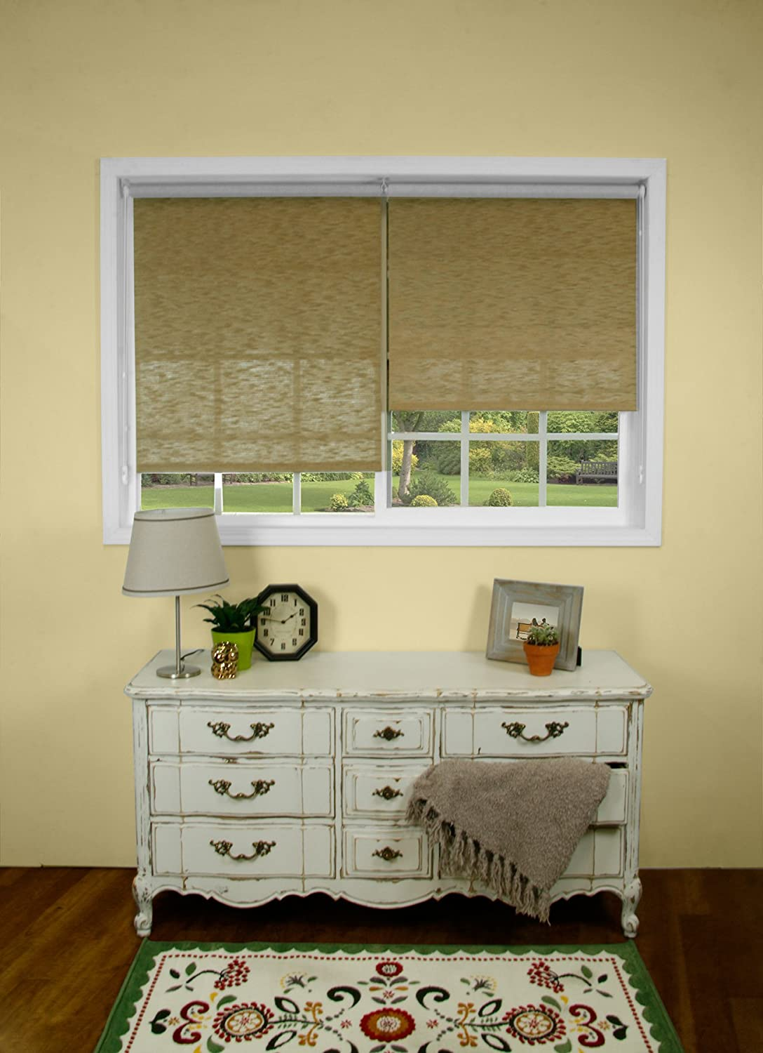 Solar RSCMB2472 CHICOLOGY Continuous Loop Beaded Chain Roller Shades UV Ray Blocking Window Blind 24 W X 72 H Midnight Black