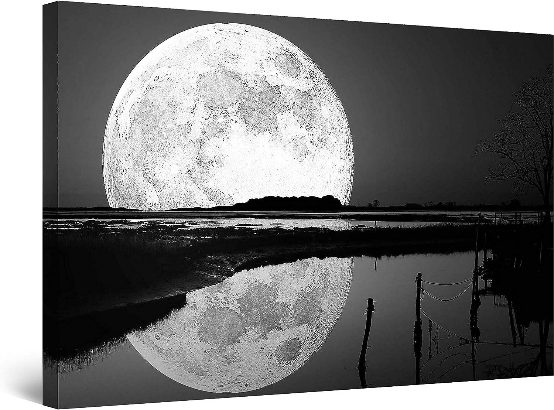 Startonight Cuadro sobre Lienzo en Blanco y Negro Reflejo de la Luna, Impresion en Calidad Fotografica Enmarcado y Listo Para Colgar Diseño Moderno Decoración Formato Grande 80 x 120 CM