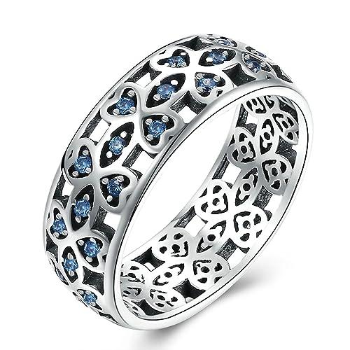 Adisaer Anillo de plata para las mujeres azul Cubic Circonita Hollow flor anillo para boda tamaño 6 - 9: Amazon.es: Joyería