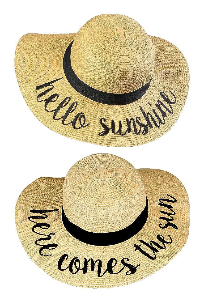2 Sun Hats  Hello Sunshine, Here Comes the Sun Funky Junque Women's Bold Cursive Embroidered Adjustable Beach Floppy Sun Hat