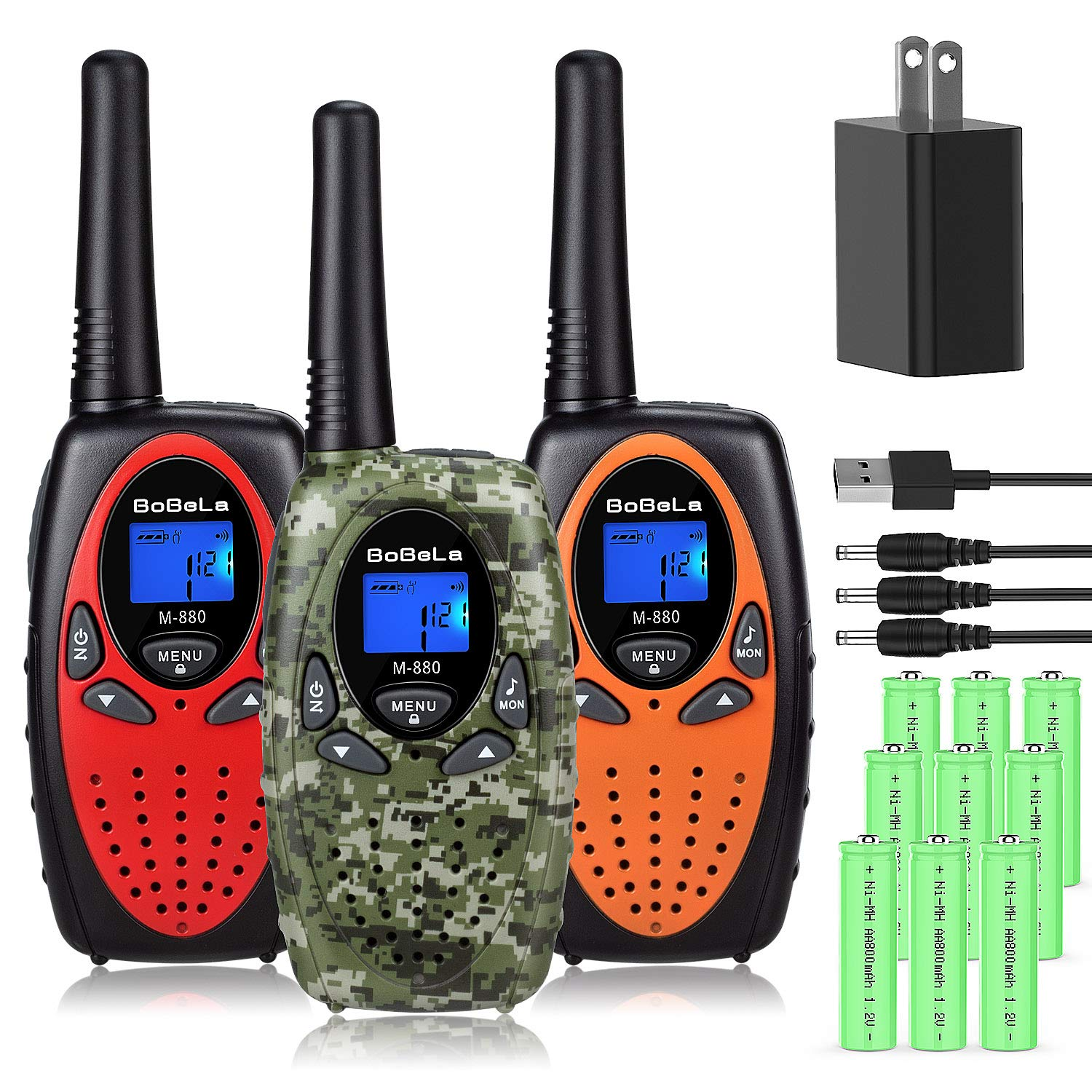 Bobela Walkie Talkies for Kids Rechargeable with Charger and Battery, 22 Channels Long Range 2 Way Radio Walky Talky for Adults and Kids, Easy Use for Cruise Ship, Traveling, Camping, Hiking(3 Pack) by Bobela (Image #1)