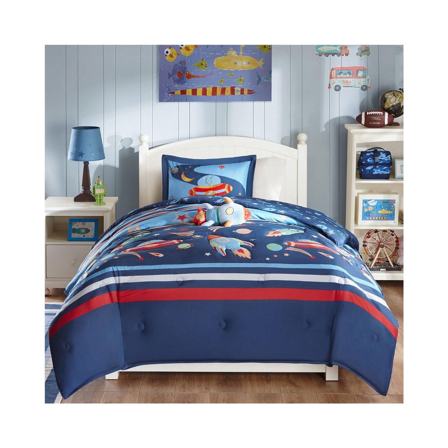 Mizone Kids Space Cadet 4 Piece Comforter Set, Blue, Full/Queen