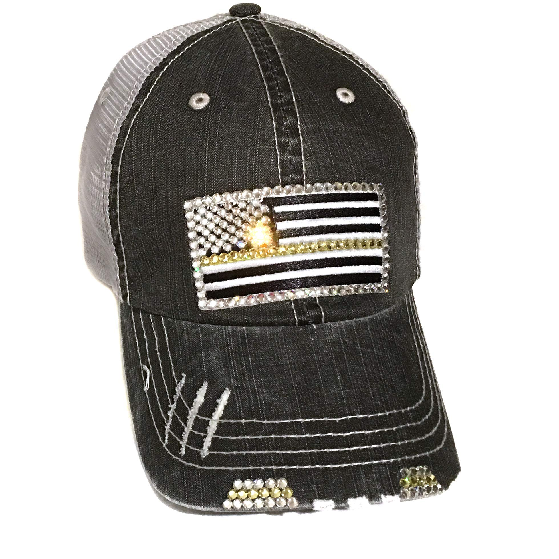Elivata Thin Gold Line Flag Hat Dispatcher Gift for Her Distressed Baseball Cap for Women