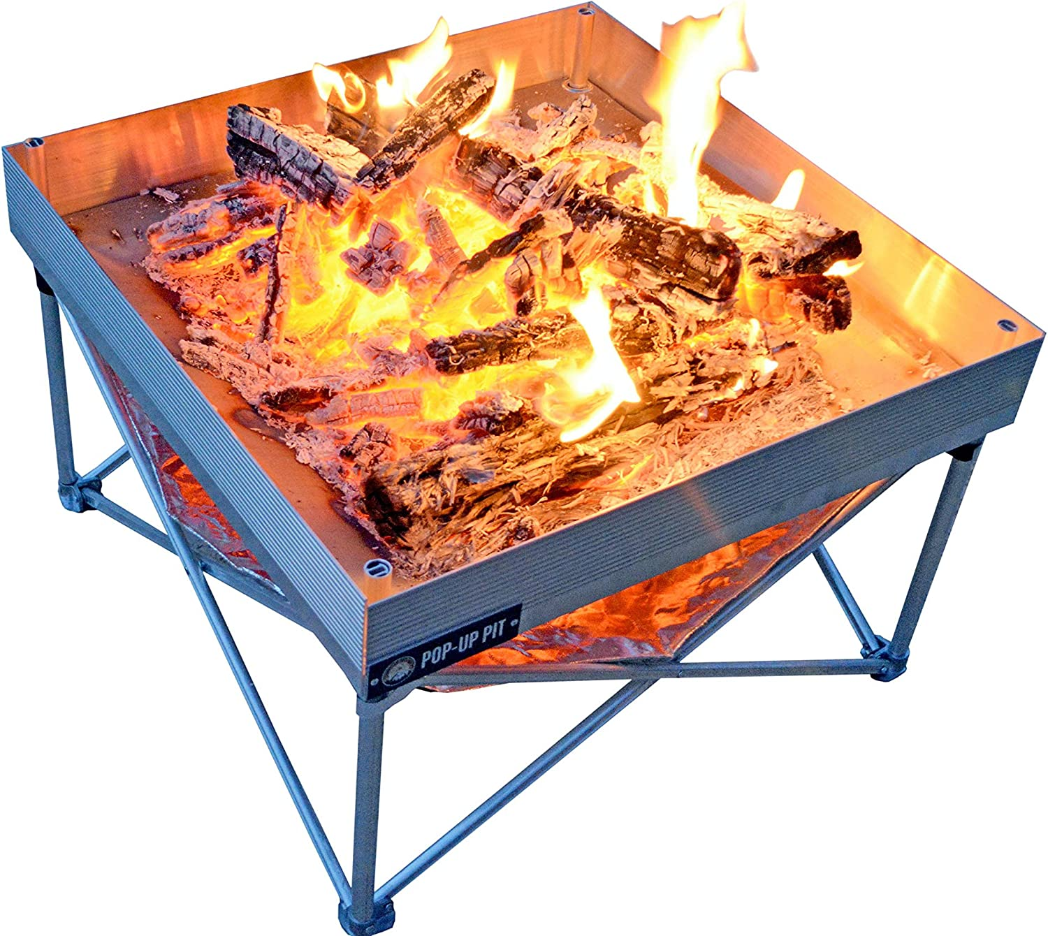 Campfire Defender Protect Preserve Pop-Up Fire Pit Portable and Lightweight Fullsize 24 Inch Never Rust FirePit Included Heat Shield for Leave No Trace Fires Pop-Up Fire Pit Heat Shield