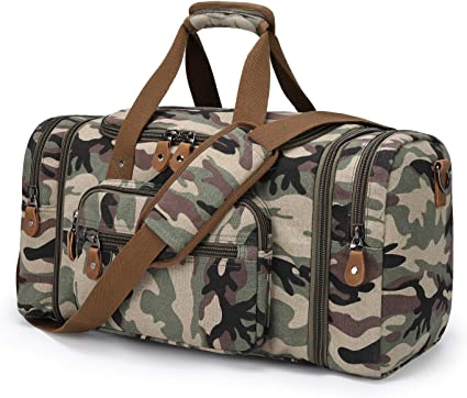 Green Camouflage Travel Carry-on Luggage Weekender Bag Overnight Tote Flight Duffel In Trolley Handle