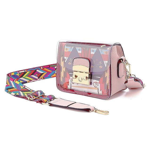 Transparent Crossbody Bag For Women,Fashion Mini Pvc Summer Shoulder Bag With Wide Color Strap by Ldysmcf