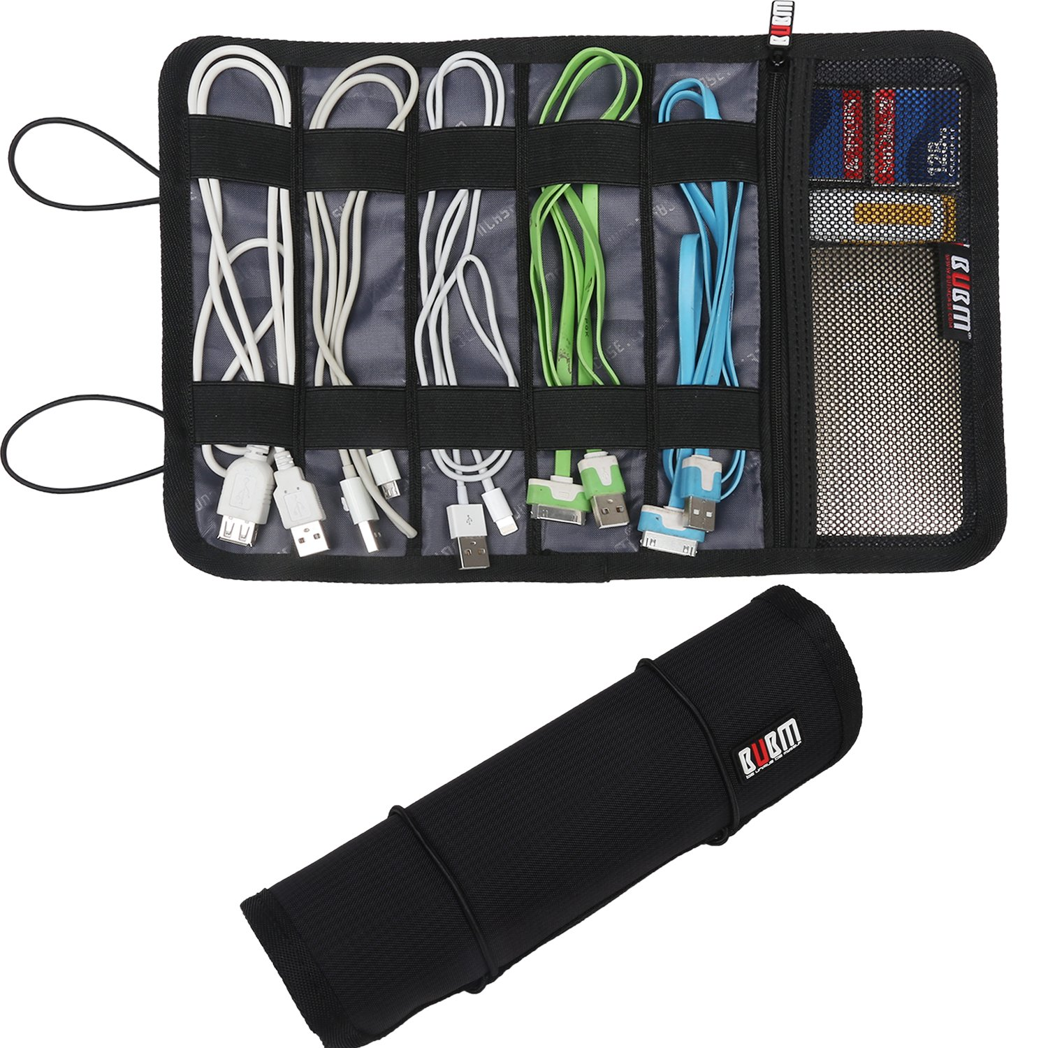 BUBM Travel Cable Organizer, Electronic Accessories Bag Roll up Management for Cord, Plug, USB Flash Drive, Earphone and