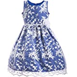 Emma Riley Girls Floral Dress Embroidered Tulle Classic Dress for Party,Formal Event