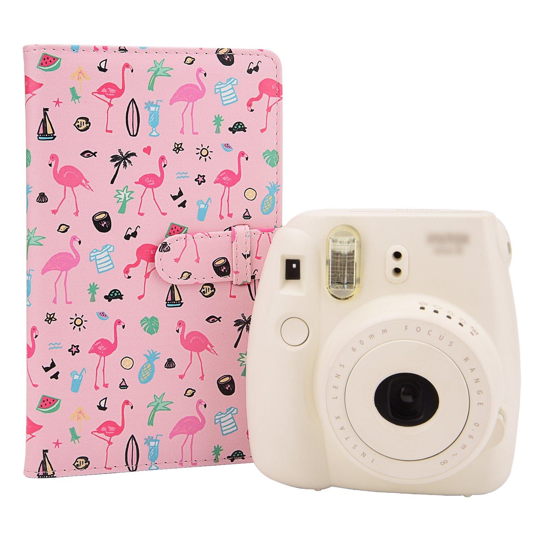 Pink Flamingo 26 7s Instant Camera Film Polaroid Snap Zip Z2300 PIC-300 Film Sunmns Wallet PU Leather Photo Album for Fujifilm Instax Mini 9 8 90 8