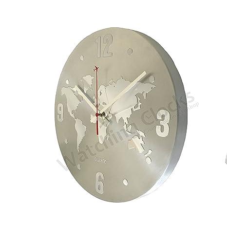 Reloj de Pared Moderno Silencioso en Aluminio Plata con Mapa Mundi