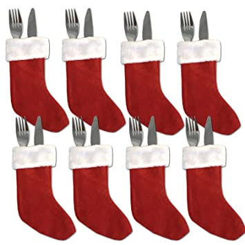 Servietten Bestecktasche jemidi bestecktasche besteck sack tasche nikolaus mütze weihnachten