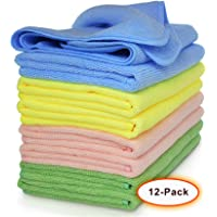 """VibraWipe Microfiber Cleaning Cloth 12-Pack, Large Size 14.2""""x14.2"""", Trap Dust, Dirt and Pet Dander in Split Fibers. Absorb up to 5X Their Weight in Liquid – Machine Washable, Reusable and Lint-Free"""