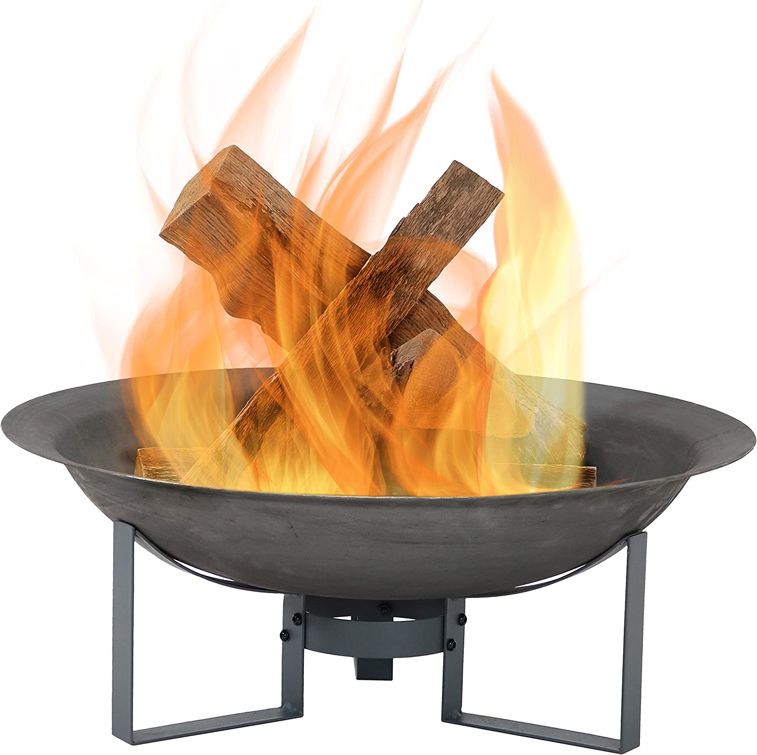 Sunnydaze Modern Fire Pit Bowl With Stand Portable Outdoor Wood