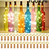Taiker Wine Bottle Lights with Cork, 30 Pack 20 LED Battery Operated LED Fairy Mini String Lights for DIY, Party, Decor, Chri