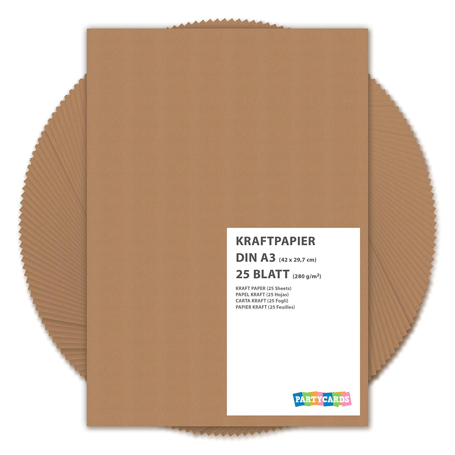 25 Sheets of Kraft Paper / Card A3 280g/m² Quality Cardboard Ideal for Craft and DIY / Brown Partycards KP-25/2017-A3