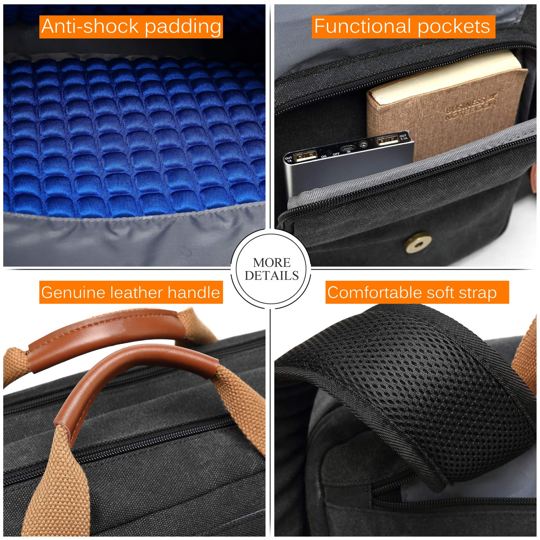 CoolBELL Convertible Backpack Messenger Bag Shoulder Bag Laptop Case Handbag Business Briefcase Multi-Functional Travel Rucksack Fits 15.6 Inch Laptop for Men//Women Black