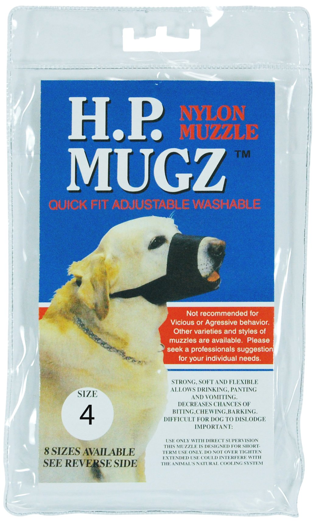 Hamilton H.P. Mugz Adjustable Quick Fit Nylon Soft Dog Muzzle, 9-1/2 to 10-Inch, Black