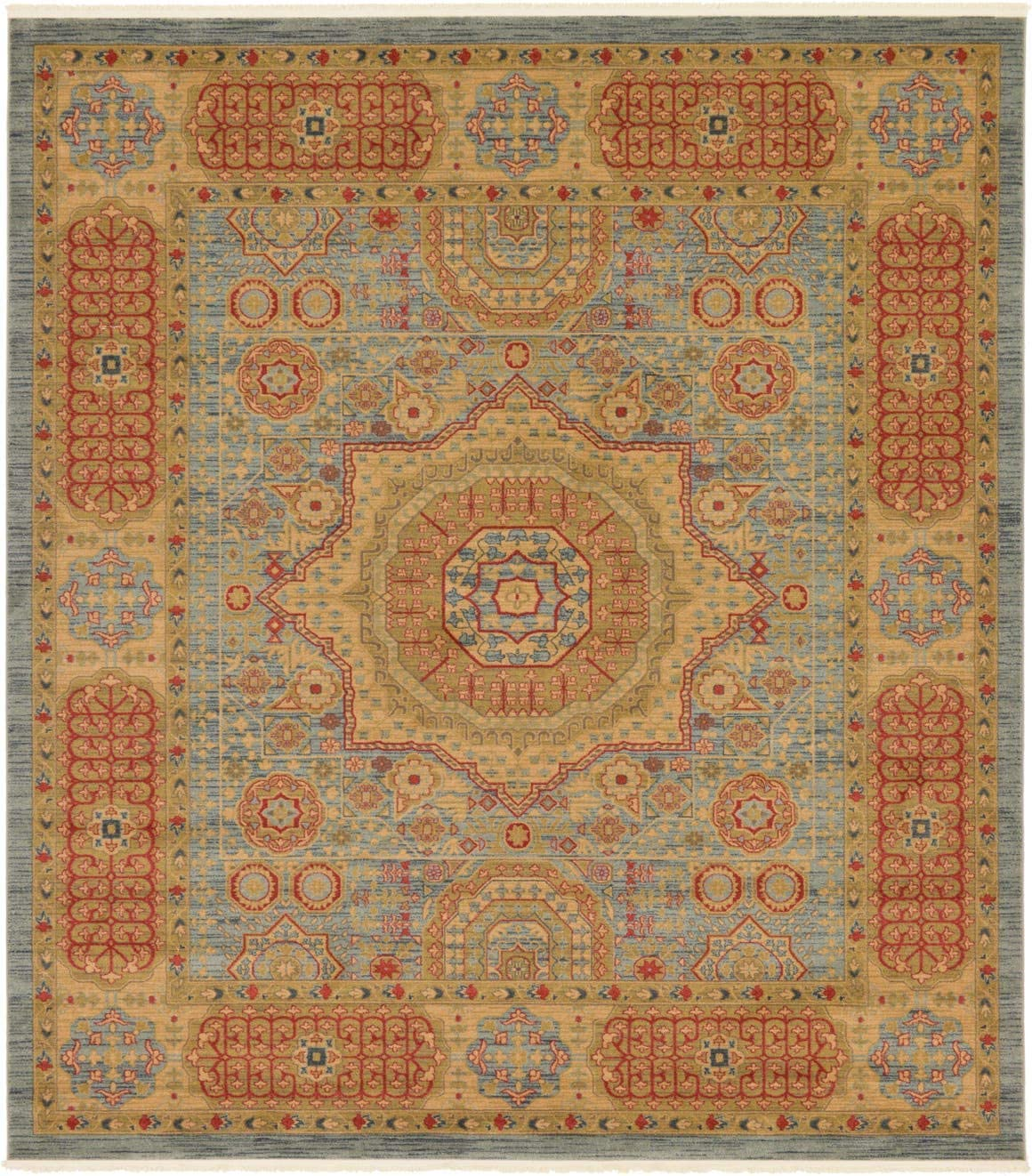 Unique Loom Palace Collection Traditoinal Geometric Classic Light Blue Square Rug 10 0 x 11 4