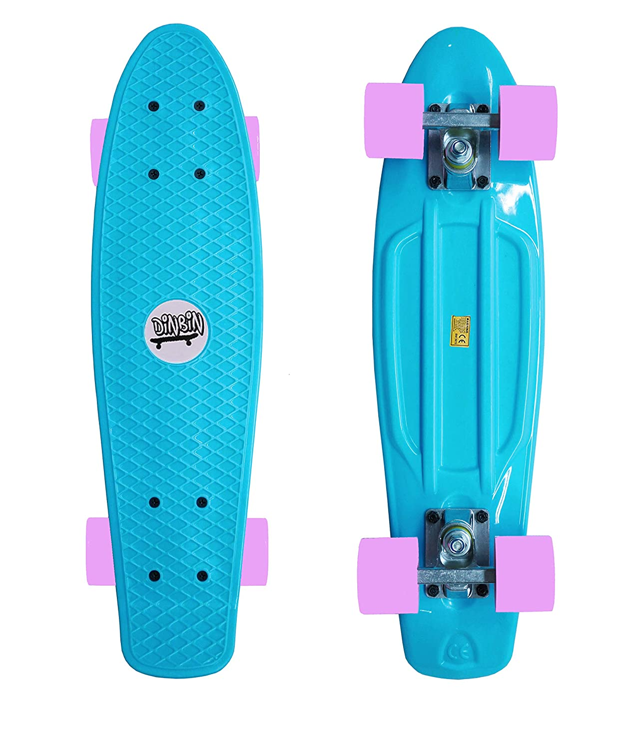 DINBIN NBIN Complete Highly Flexible Plastic Cruiser Board Mini 22 Inch Skateboards for Beginners or Professional with High Rebound PU Wheels