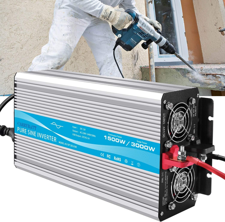 CARRYBATT Power Inverter Onda Sinusoidale Pura 1500W 3000W Invertitore di Potenza DC da 12V a AC 220V 230V con Telecomando con Presa AC /& 2.1A Porta USB
