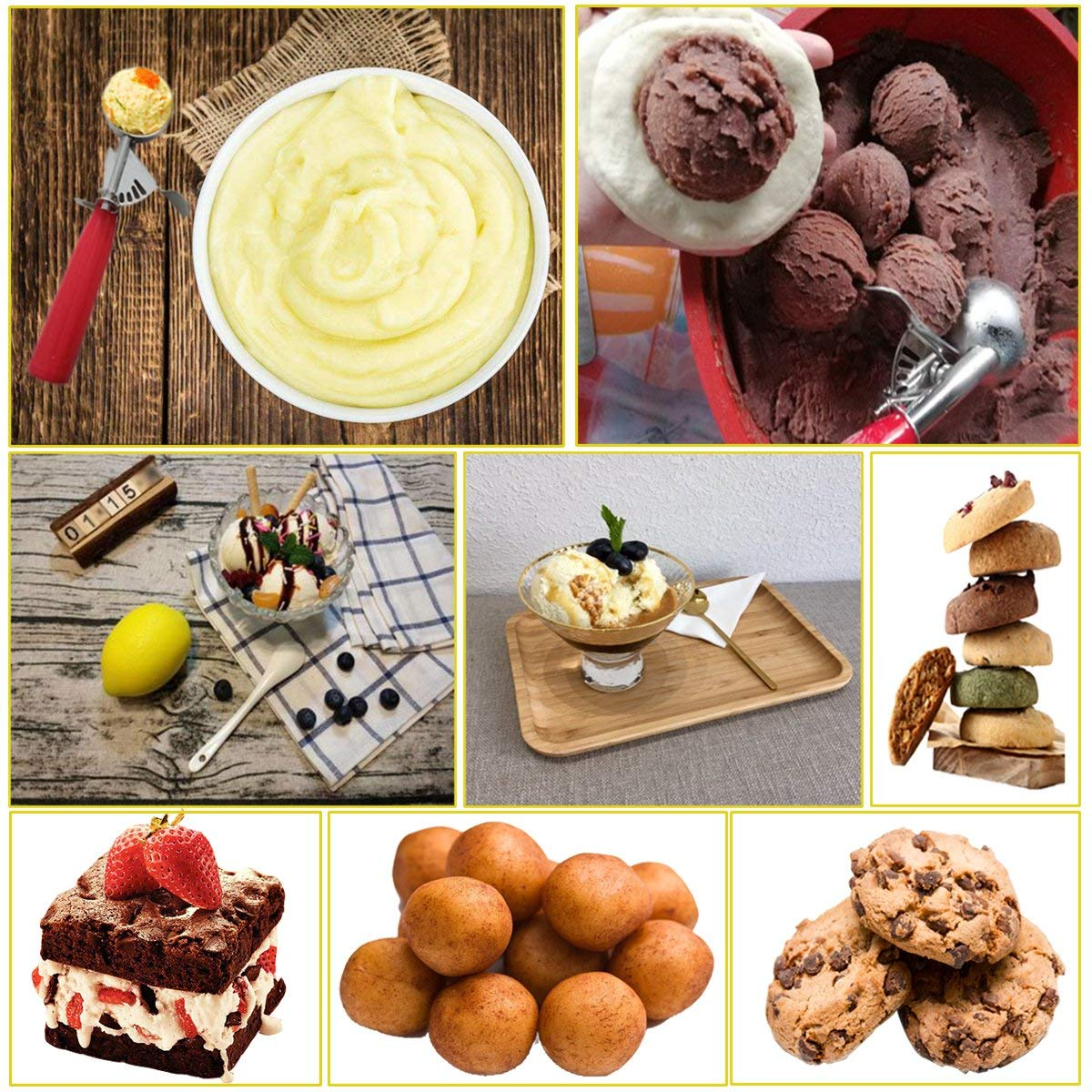 Ice Cream Scoop with Trigger Multiple Size Large-Medium-Small Size Professional 18//8 Stainless Steel Cupcake Scoop Cookie Scoop Set