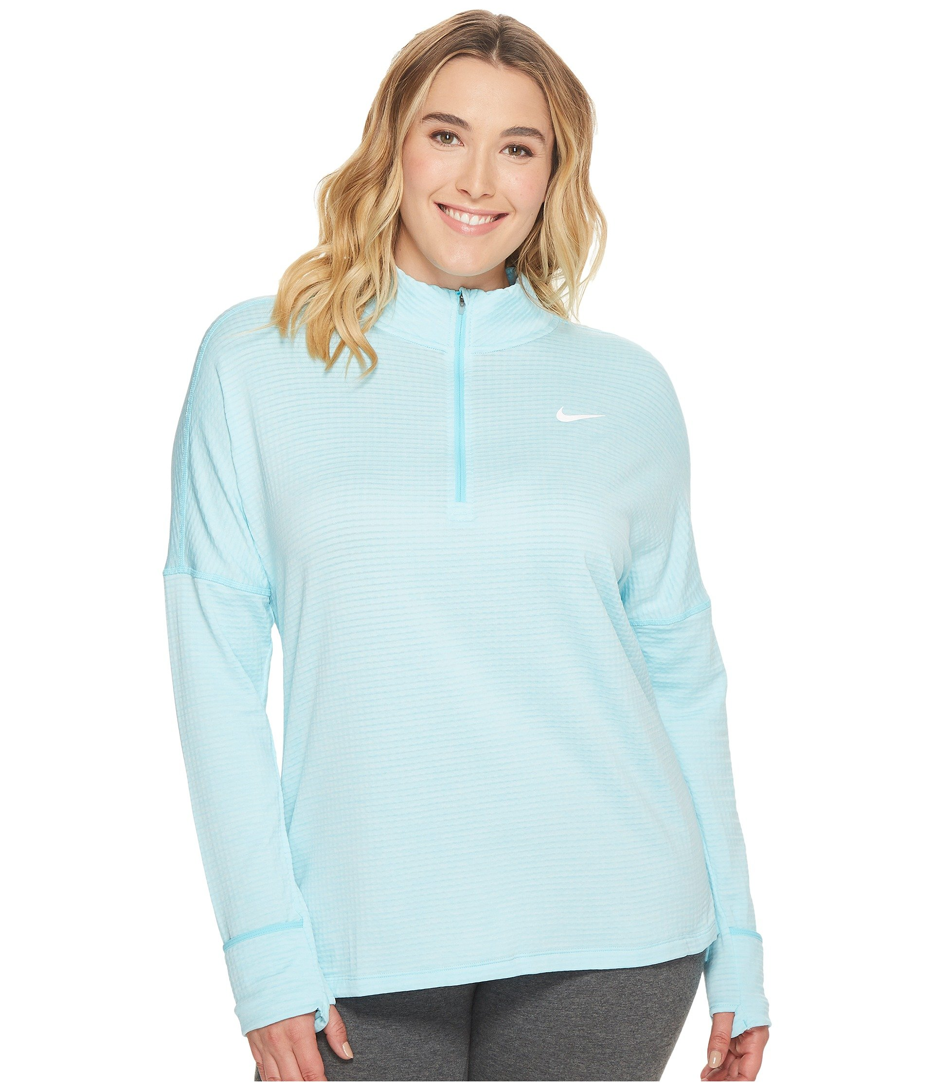 NIKE Women's Plus Size Sphere Element ½ Zip Running Shirt(Polarized Blue/HTR, 3X) by Nike