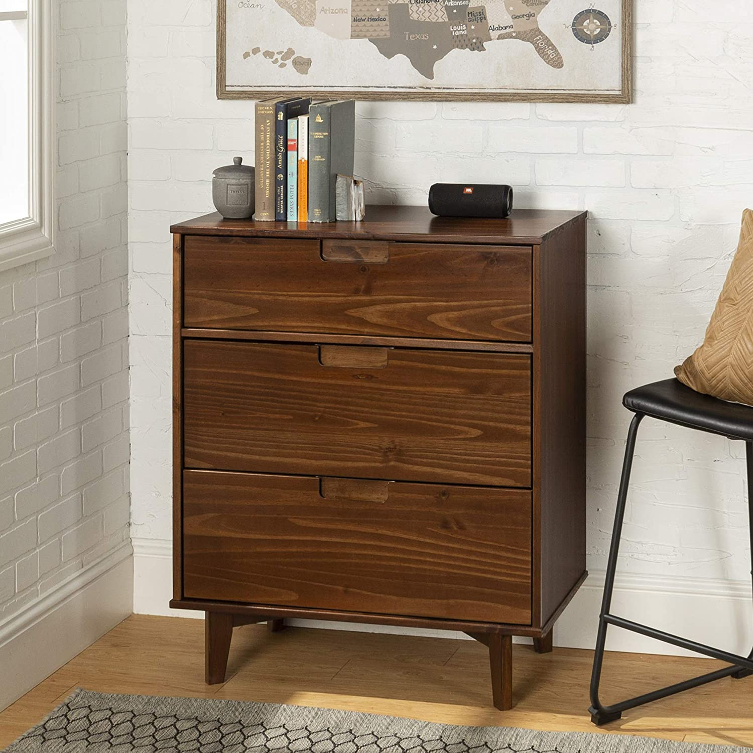 WE Furniture 3 Drawer Mid Century Modern Wood Dresser Bedroom Storage, Walnut