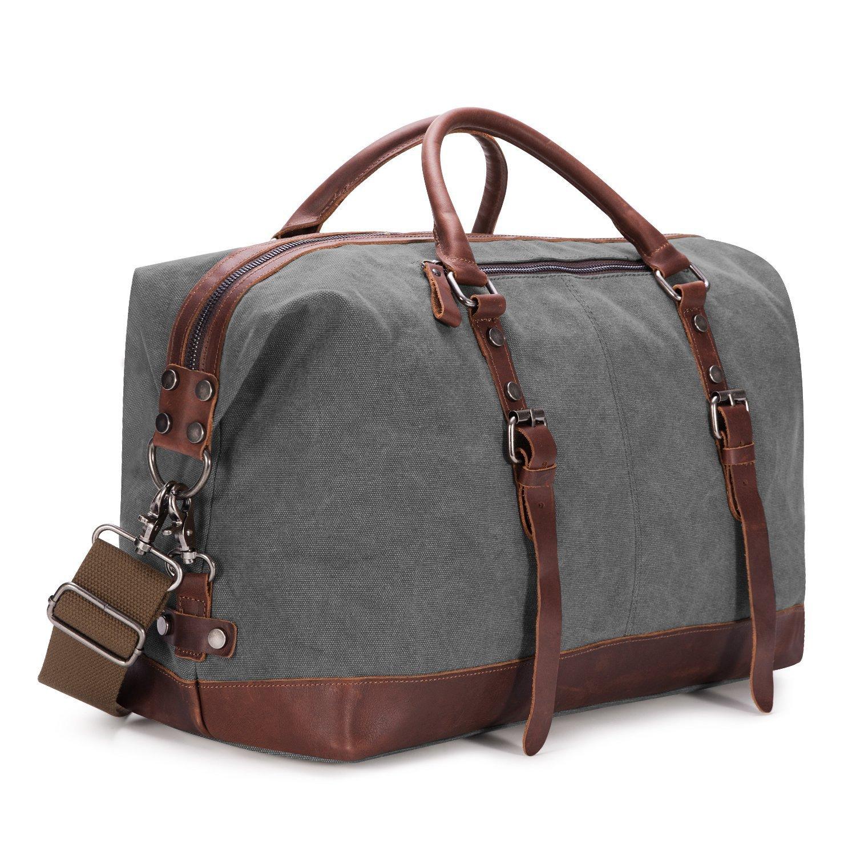 BAOSHA Oversized Canvas PU Leather Travel Tote Duffel Bag Weekender Overnight Bag (Grey)