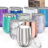 Wine Tumbler Vacuum Insulated Stemless - THILY 12 oz Triple-Insulated Stainless Steel Wine Glasses with Lid and Straw, Keep Cold or Hot for Coffee, Cocktails, Christmas Birthday Gift