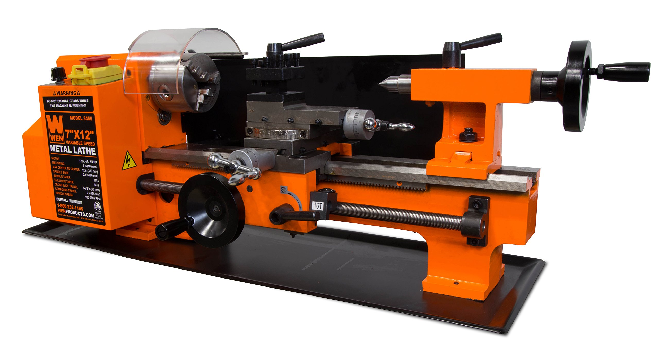 Details about WEN 3455 Variable Speed 7 by 12'' Two-Direction Benchtop  Metal Lathe